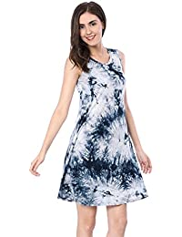 Women's Tunic Sundress Sleeveless Round Neck Tye Dye Summer Shirt Tank Dress