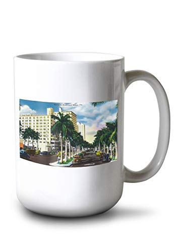 Lantern Press Miami, Florida - Biscayne Boulevard Scene (15oz White Ceramic Mug)]()
