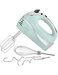 VonShef BLUE 250W Hand Mixer Whisk With Chrome Beater, Dough Hook, 5 Speed and Turbo Button + Balloon Whisk