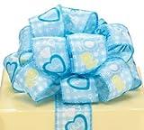 Blue White Baby Boy Satin Wired Ribbon #9 1.5'' X 20 Yds