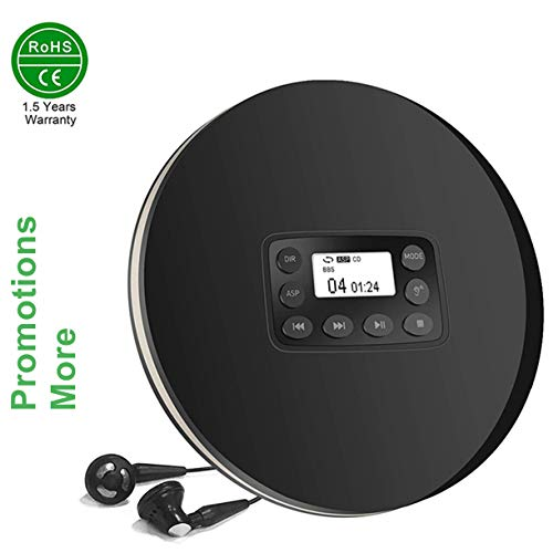 Black Portable Discman CD Player for Car, HOTT Compact Walkman MP3 Music Player with Headphone, Electronic Skip Protection and Anti-Shock Function w/Promo Aux Cable & Y Earphones Splitter