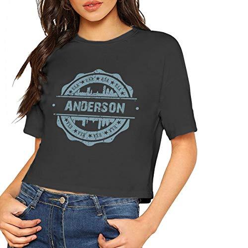 X-JUSEN Women's Anderson County South Carolina O-Neck Midriff Baring Cotton T Shirts Blouse Tee, Basic Crop Tops