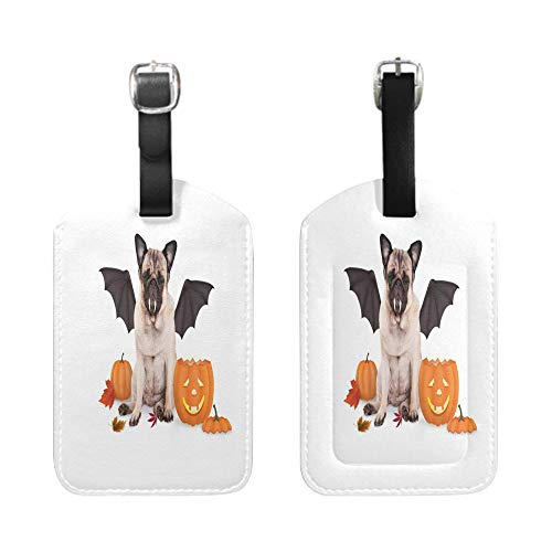 Stylish Patterned Private Luggage Tag, leather name ID tag with privacy cover, bescribe - pug dog dressed up as bat for halloween with funny pumpkin lantern-2-Piece ()