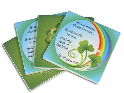 Irish Coasters - Set of 4 Stone Drink Coasters with Box - Irish Blessing Sayings - 4x4 Inch (Irish Tile Box)