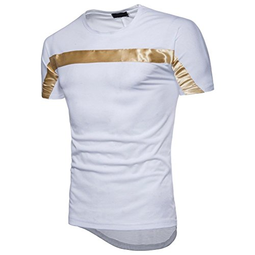 Bluestercool Fashion Hommes Top Manches Courtes Patchwork Casual T-Shirts Blanc