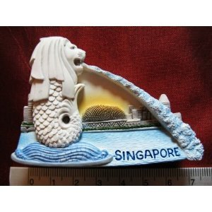 Singapore the Merlion Lion Fish Statue High Quality Resin 3D fridge Refrigerator Thai Magnet Hand Made Craft