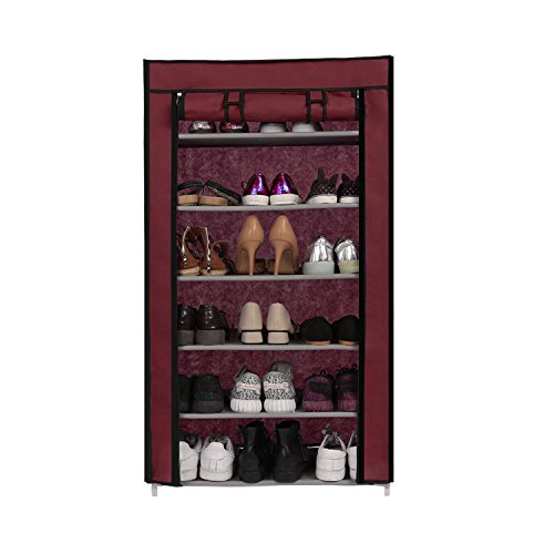 evokem 6 Tiers Shoe Rack with Cover 18 Pairs Shoe Storage Or