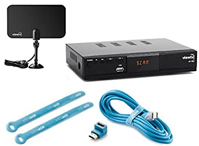 Viewtv AT-163 ATSC Digital TV Converter Box Bundle with ViewTV Flat HD Digital Indoor TV Antenna and ViewTV HDMI Cable w/ Recording PVR Function / HDMI Out / Coaxial Out / Composite Out / USB Input
