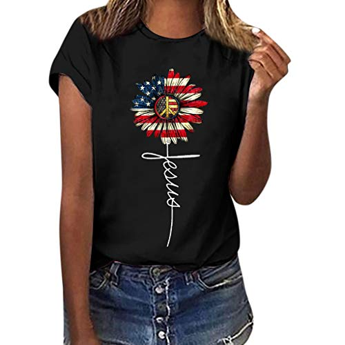 Graphic t Shirt for Women,SMALLE◕‿◕ Women Sunflower Flag Printed Tee Plus Size Short Sleeve Blouse Tops - July 4th Black