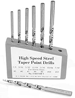 product image for Set Of 7 High Speed Steel Taper Point Drills Wood Holder