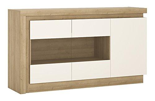 Furniture To Go 3 Door Glazed Sideboard, Wood, Riviera Oak/White High Gloss