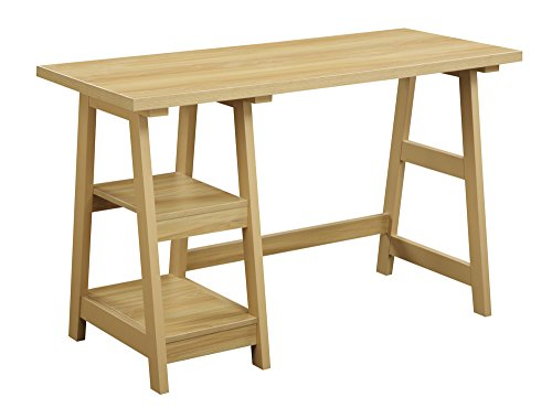 Convenience Concepts Designs2Go Trestle Desk, Light Oak (Ottoman Oak Bedroom)