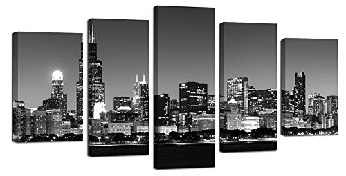 Ardemy Canvas Wall Art Painting Modern Chicago City Night View Skyline Black and White Large Size 5 Panels/Set, Art Prints Easy to Hang Gallery Wrapped Picture Designs for Home and Office Decorations by Ardemy