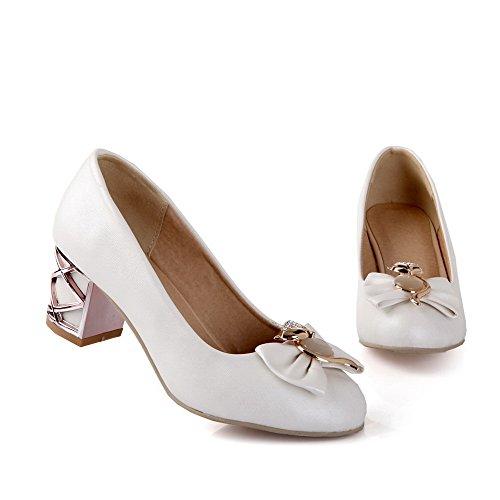 Allhqfashion Femmes Bout Fermé Fermeture À Glissière Pu Solide Kitten-heels Pompes-chaussures Blanc