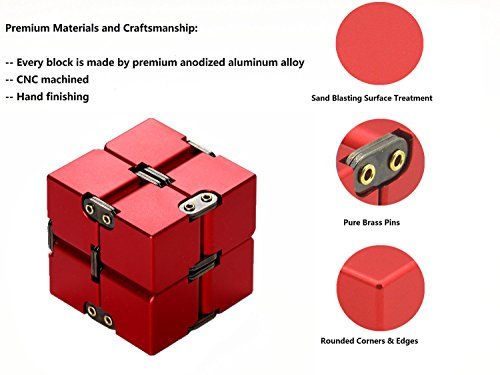 Lifidea Aluminum Alloy Metal Infinity Cube Fidget Cube (6 Colors) Handheld Fidget Toy Desk Toy with Cool Case Infinity…