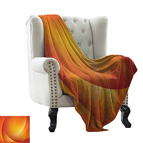 (Picnic Blanket Orange,Colorful Smooth Twist Lines Sun Abstraction Energy Flow Waves Curves Art, Dark Orange Yellow for Bed & Couch Sofa Easy Care 60