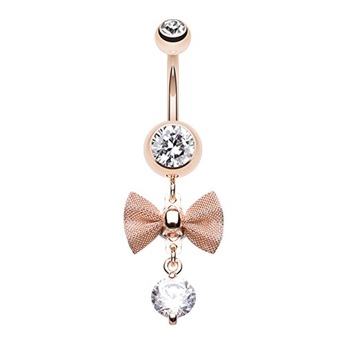 (Elegant Mesh Bow-Tie Gem Dangle WildKlass Belly Button Ring Rose Gold 14g)