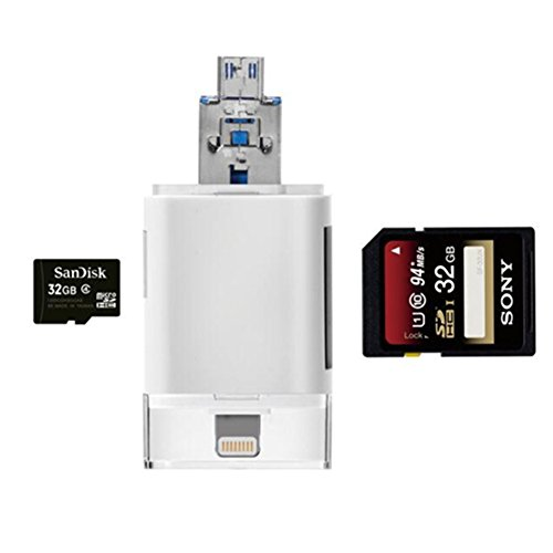 High Speed Lightning iReader USB SDHC Micro SD OTG Card Reader Support IOS 11 for iphone X 8/8 Plus 7/7 Plus 6S/6S Plus 6/6 Plus iPad PC & OTG Galaxy S6 S7 S5 S4 S3, Galaxy Note 4 3 2, LG G3 by LOTUS POWER (Image #3)