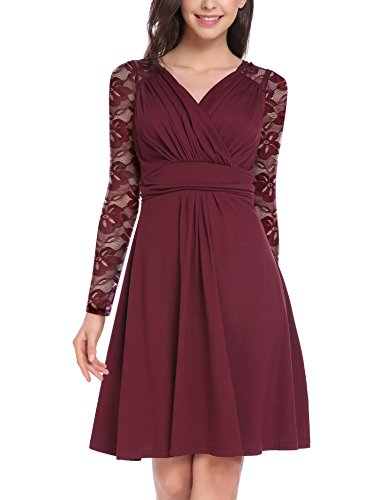 Vessos Womens Casual Dress A Line Long Sleeve V Neck Ruched Waist Elegant Dresses Wine Red1 Small