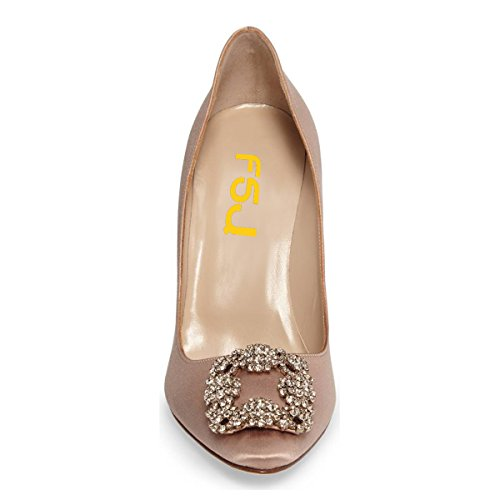 Bombas De Satén Jeweled De Las Mujeres De Fsj Del Dedo Del Pie Puntiagudo Resbalón En Los Tacones De Aguja Zapatos De Fiesta De Noche Tamaño 4-15 Us Nude