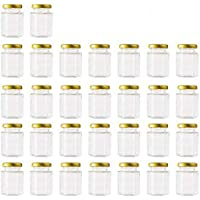 Encheng 4 oz Clear Hexagon Jars,Small Glass Jars With Lids(Golden),Mason Jars For Herb,Foods,Jams,Liquid,Spice Jars For…