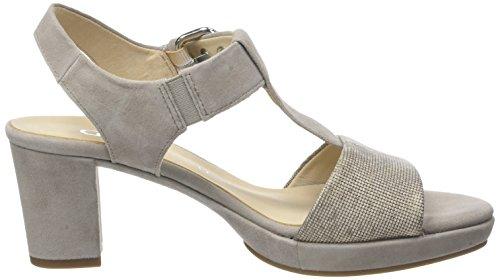 Gabor Shoes Comfort, Sandalias de Tacón Para Mujer Beige (Leinen/Pudera A.OBL 44)