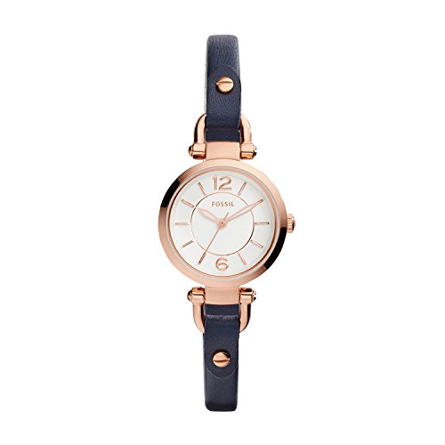 Fossil Women's Georgia Mini Quartz Stainless Steel and Leather Casual Watch, Color: Rose Gold, Navy (Model: ES4026) (7mm Watch Band)