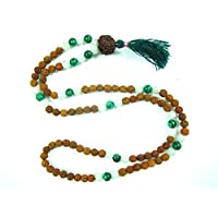 Gift for Yoga -Buddhist Green Jade Rudraksha , Moon Stone Healing Meditation Mala, Bring Fortune