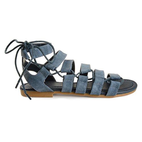 Brinley Co Womens Kruidnagel Gekooide Faux Lederen Strappy Gladiator Sandalen Blauw