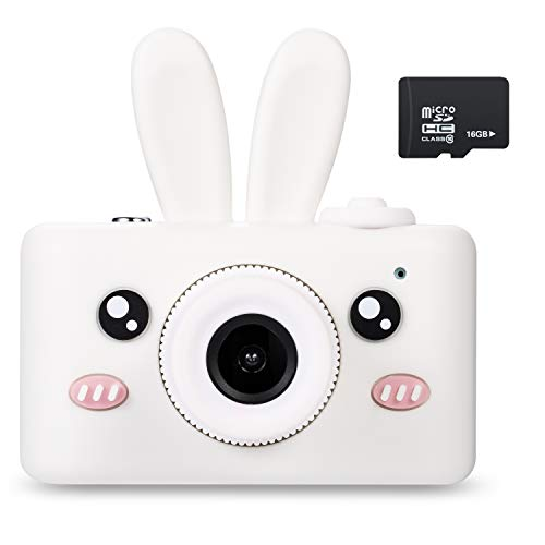 Abdtech Gifts Rabbit Kids Camera, Rechargeable Digital Cameras with Shockproof Soft Cover, Mini Toy Cameras for 5-10 Years Old Girl Boys Including 16GB SD Card, Perfect for Birthday Festival Presents