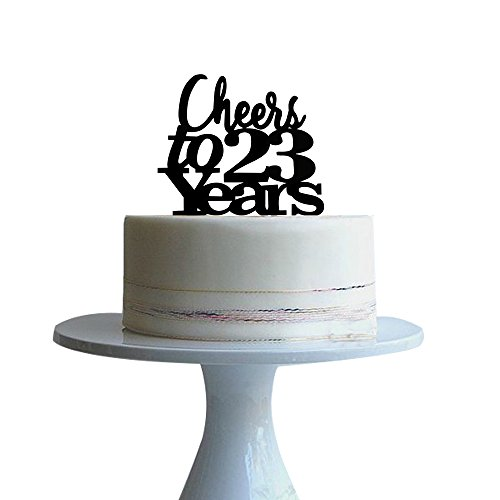 btsond Cheers to 23 years cake topper for 23 years love,wedding anniversary,birthday cake topper Black acrylic]()