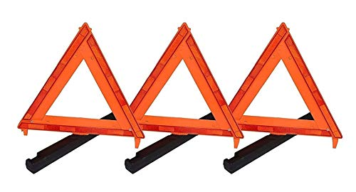 Professional EZ Travel Collection 3-Pack, Big Rig, Foldable Emergency Roadside Warning Triangle Reflector (D.O.T. Approved)