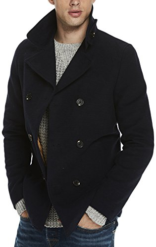 TALLA L. Scotch & Soda Brushed Cotton Classic AMS Blauw Pea Coat, Chaqueta para Hombre