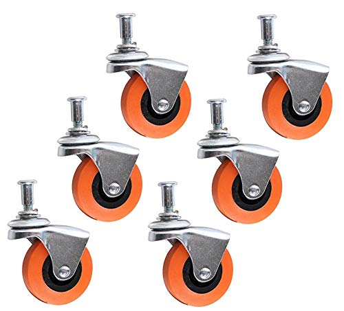 "ALAZCO 6 Heavy-Duty 2.5"" Swivel Caster Wheel for Creeper Service Cart Stool Post Mount"