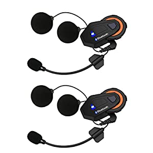 Helmet Communication Systems Group Intercom, Waterproof 1500M T-MAX Helmet Bluetooth Headset Talking Intercom Handsfree for Motorcycle Skiing (Full Duplex, 6 Riders Pairing, FM Radio, 2 Pack)