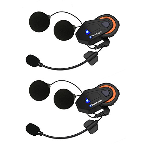 Helmet Communication Systems Group Intercom, Waterproof 1500M T-MAX Helmet Bluetooth Headset Talking Intercom Handsfree for Motorcycle Skiing (Full Duplex, 6 Riders Pairing, FM Radio, 2 Pack) by FreedConn