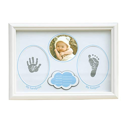 Aisheny Baby Feet & Hands Print Kits, Baby Handprint & Footprint Photo Frame, Babyprints Imprint Paper, Washable Ink Pad Kits for Newborn Boys and Girls Baby Shower Gifts