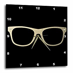 3D Rose Gold Etched Effect Eye Glasses Illustration Wall Clock, 10 x 10,