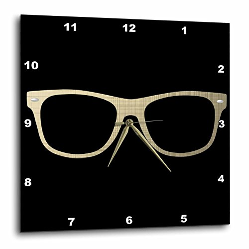 "3D Rose Etched Effect Eye Glasses Illustration Wall Clock, 15"" x 15"", Gold"