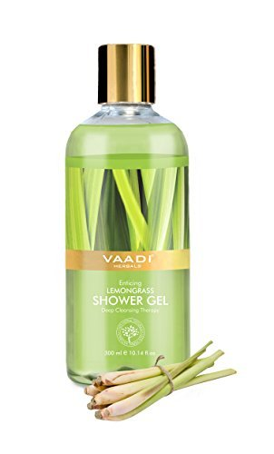 Dry Skin Herbal Body Wash (Shower Gel - Sulfate-Free - Herbal Body Wash both for Men and Women - 300 ml (10.14 fl oz) - Vaadi Herbals (Enticing Lemongrass) (1 Bottle))