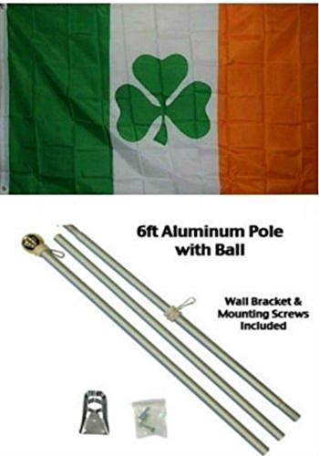 AES 3x5 3'x5' Irish Shamrock Ireland Clover Flag Aluminum Pole Kit Gold Ball Top