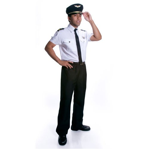 Xl Adult Pilot Costumes (Dress Up America Adults Deluxe Pilot Costume - X-Large)