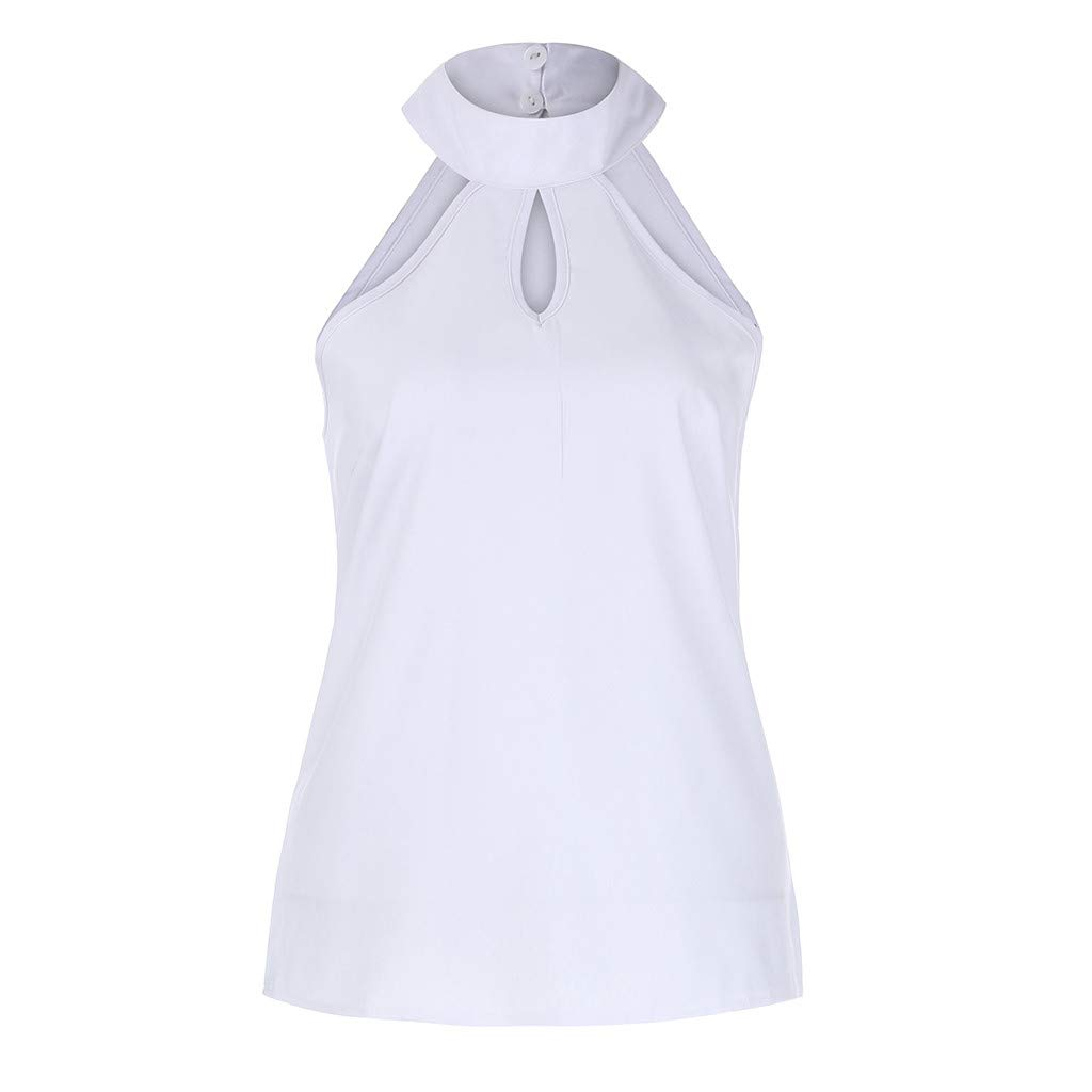✔ Hypothesis_X ☎ Sleeveless Vest Tank Tops for Women Hollow T-Shirt Women Solid T Shirts V-Neck Blouses