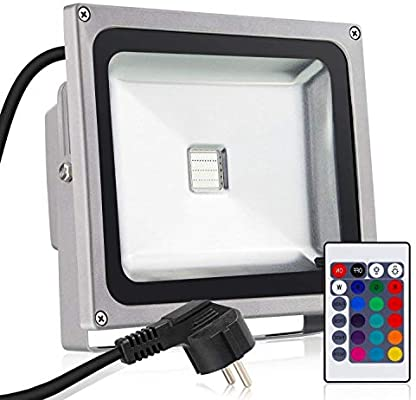 Proyector LED Exterior Impermeable (RGB 50 W por infrarrojos ...
