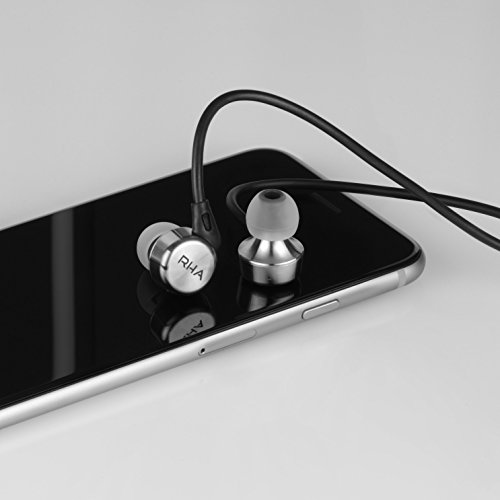 RHA MA750 In-Ear Headphones: Hi-Res Stainless Steel Noise Isolating Earphones with Ear Hooks