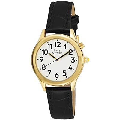 TimeOptics Women's Talking Gold-Tone Day Date Alarm Leather Strap Watch # GWC101GBK