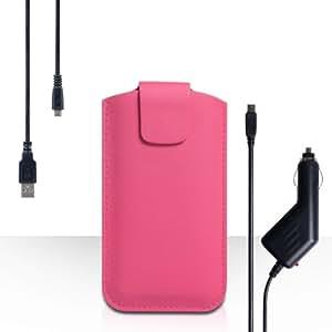 Diseños de combinación de los accesorios de funda como en calientes HTC de encendedor de 8 del color de rosa tipo bolsa de cuero de la cubierta con Cable de carga Micro USB para el coche y cargador Micro USB