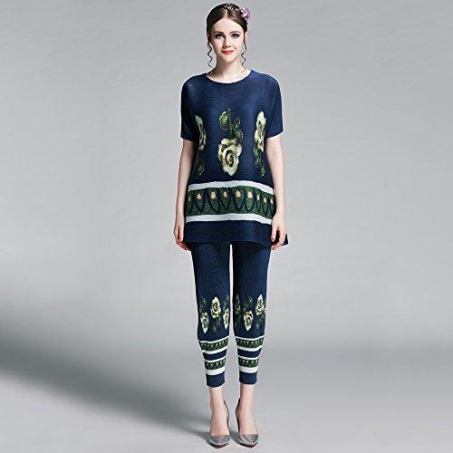 LOEL Women Blouses Pleats Batwing-sleeved Oversized Casual Pant Suits Set