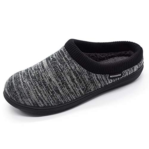 RockDove Men's Hoodback Slipper with Memory Foam, Size 7-8 US Men, Black