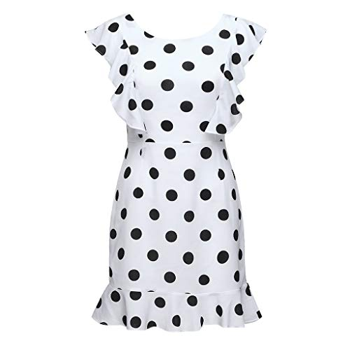 Susun Summer Popular Style Unique Women Skirt Office Dot Print Sleeveless Lace Up Casual Party Mini Dress Sundress White